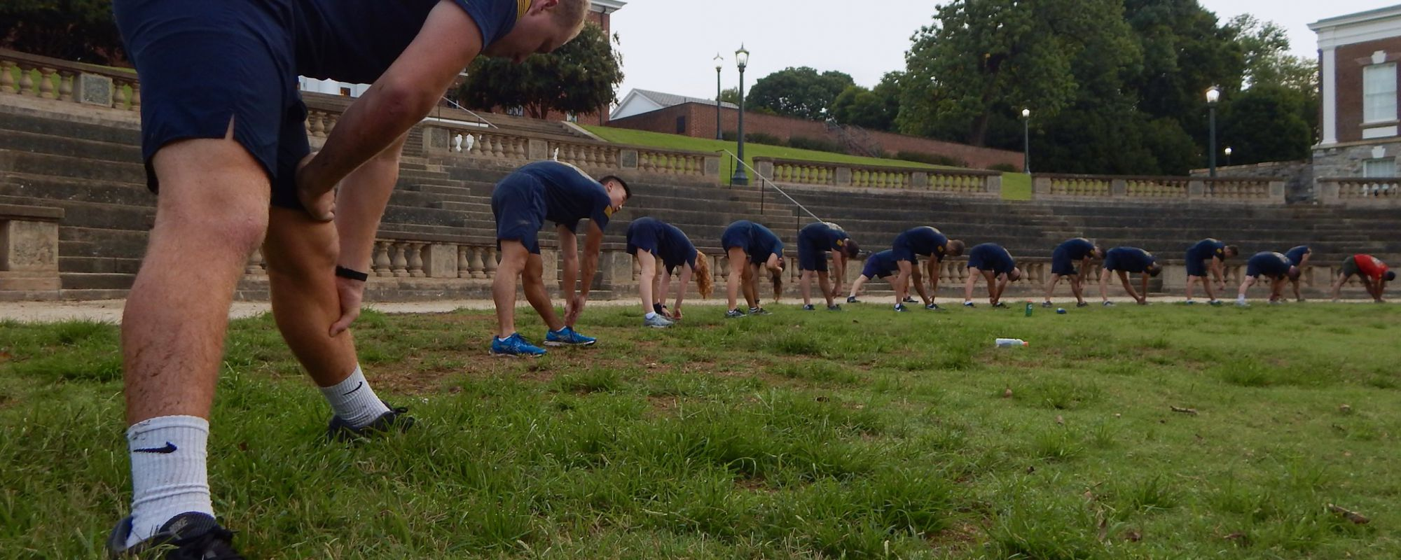 NROTC students exercising UVA lawn